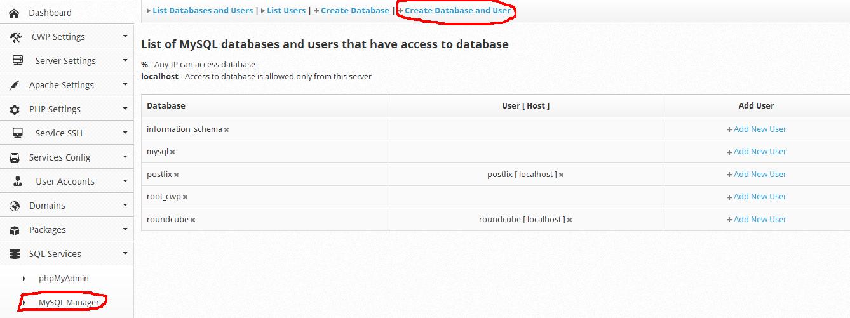 آموزش ساخت دیتابیس CentOS Web Panel