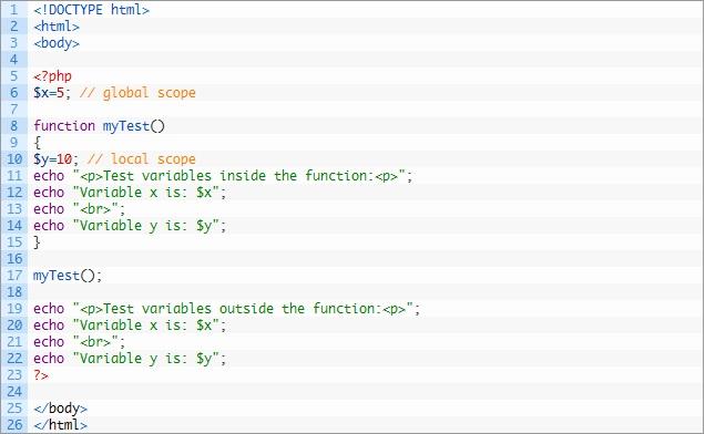 متغیرهای Local و Global در PHP