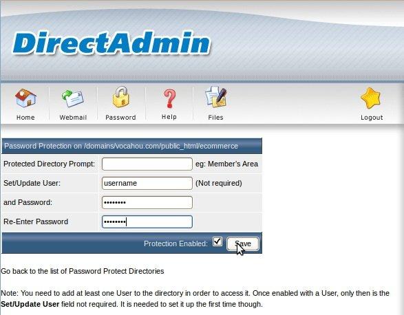 Direct Admin password protect رمز گذاری دایرکت ادمین