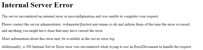 خطای 500 Internal Server Error