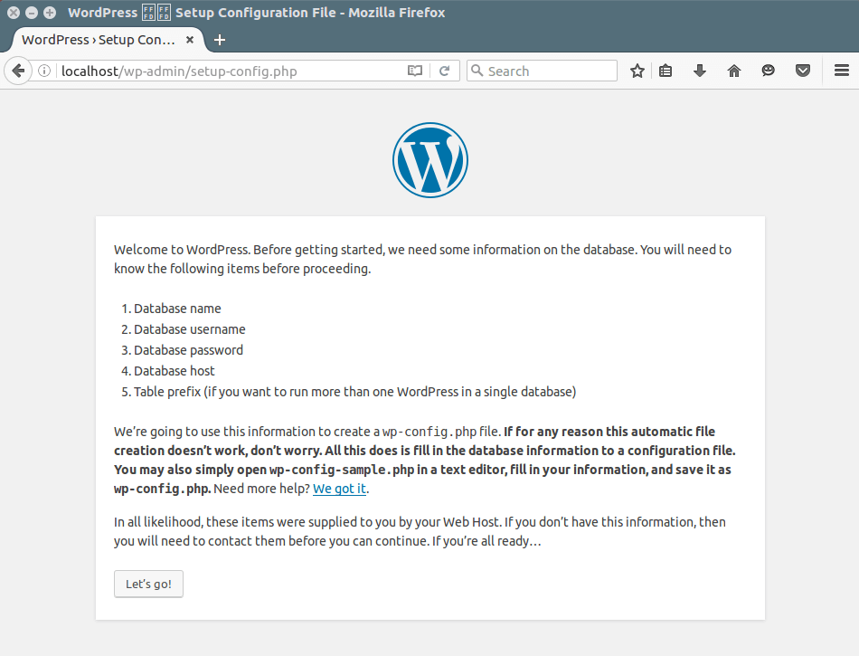 WordPress Installation Wizard