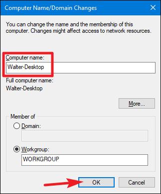 chnage netbios name windows